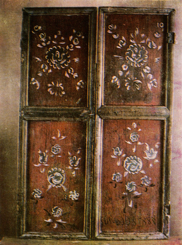 Green flowers. Cupboard's door painting. <br/>1887 year