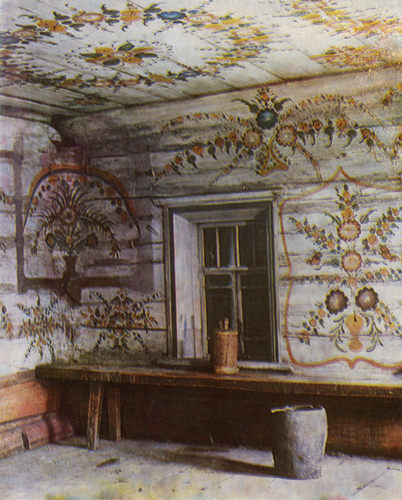 Blooming garden with birds. Room painting . <br/>1897