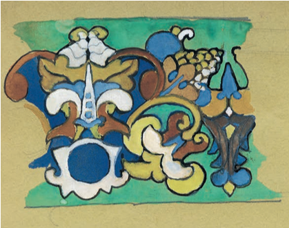 Sketch of a 17th century Russian style majolica frieze. Mid 1900 years