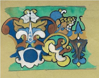 Эскиз майоликового фриза в русском стиле 17 века. <br/>Середина 1900-х годов