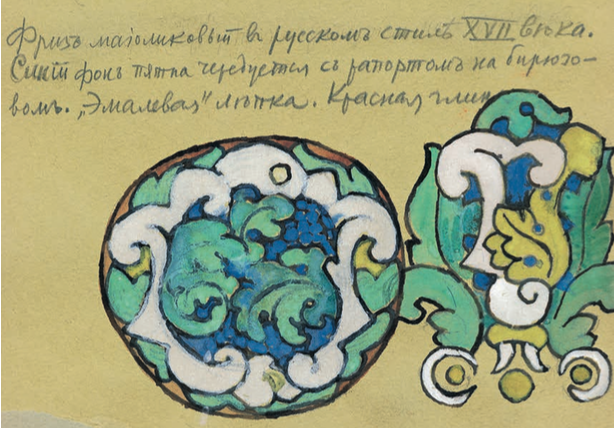 Sketch of a 17th century Russian style plate. Mid 1900 years