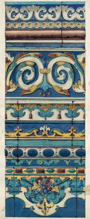 Модель изразцового фриза церквей Теремного дворца Московского Кремля. <br/>1946 год