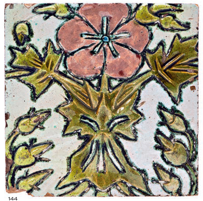 Stove tile with embossed image of a pink flower on a light background. <br/>Around 1900 year
