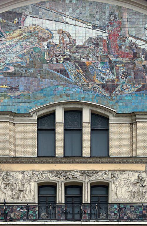 """Майоликовое панно """"Принцесса Грёза"""" на главном фасаде гостиницы """"Метрополь"""". <br/>1900 год"""