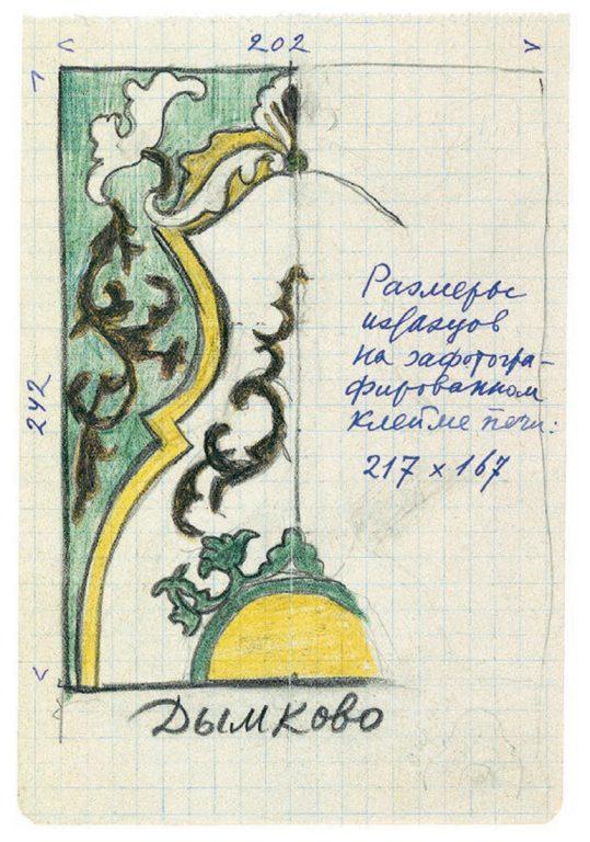 Изразец печи в Дымковской слободе . <br/>18 — 19 века