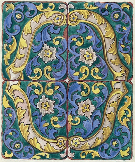Tile panel from the Azov house in Veliky Ustyug. <br/>First quarter of the 19th century