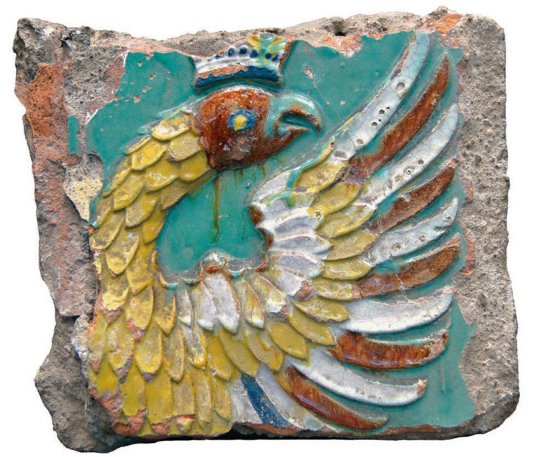Tile. Part of a panel depicting double-headed eagle from the Sukharev Tower.. <br/>1690 years