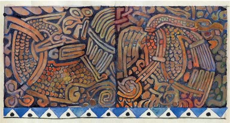 Эскиз двух керамических плиток с изображениями в тератологическом стиле