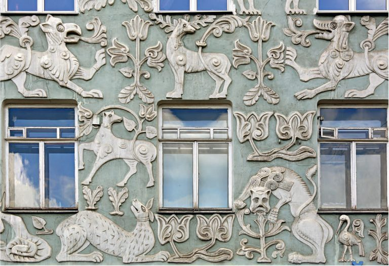 Ceramic decoration of the revenue house of the Trinity Church on Gryazekh. <br/>1908 — 1909 years