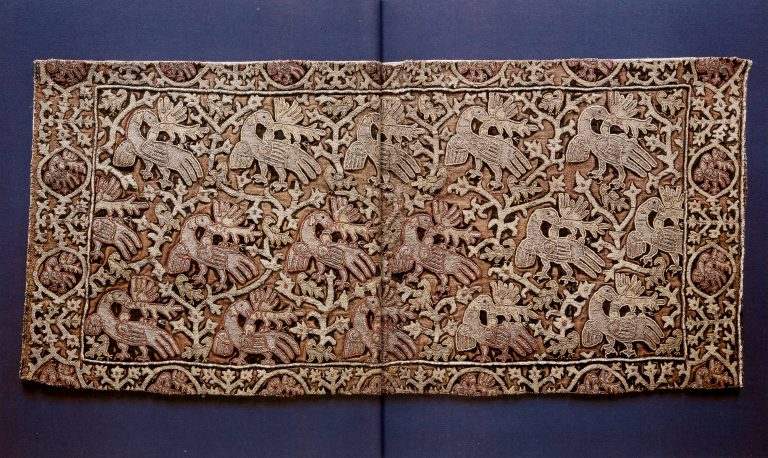 Gold embroidery sample. <br/>17th century