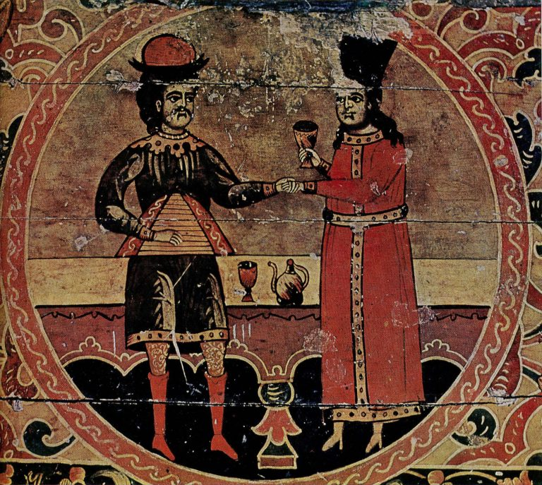 Treasure chest painting depicting Sadko and Chernava. Fragment. Late 17th century