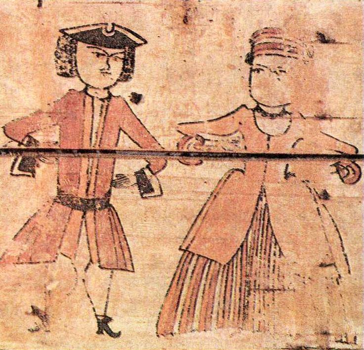 Бова и Дружевна. Роспись коробьи. <br/>Начало 18 века