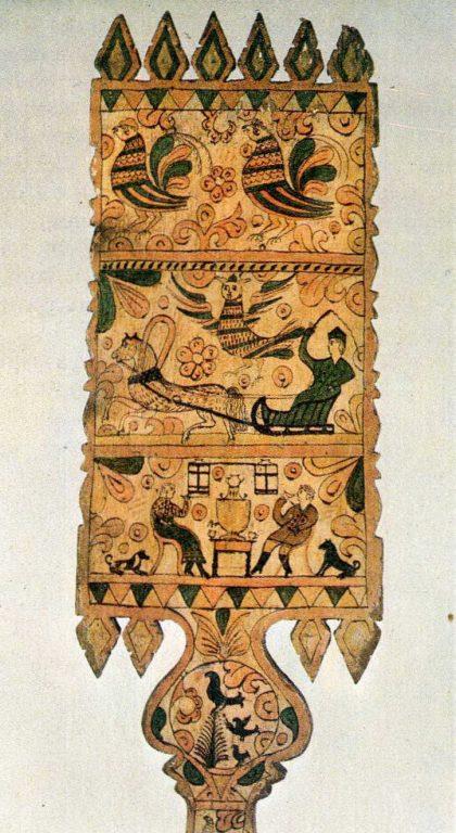 Прялка с росписью. Оборотная сторона лопаски. <br/>Конец 19 века