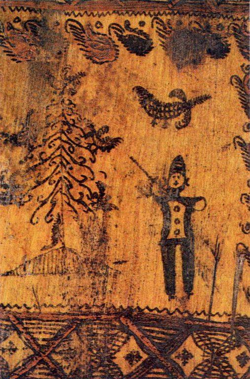 Охотник. Деталь росписи мезенской прялки. <br/>80-е годы 19 века