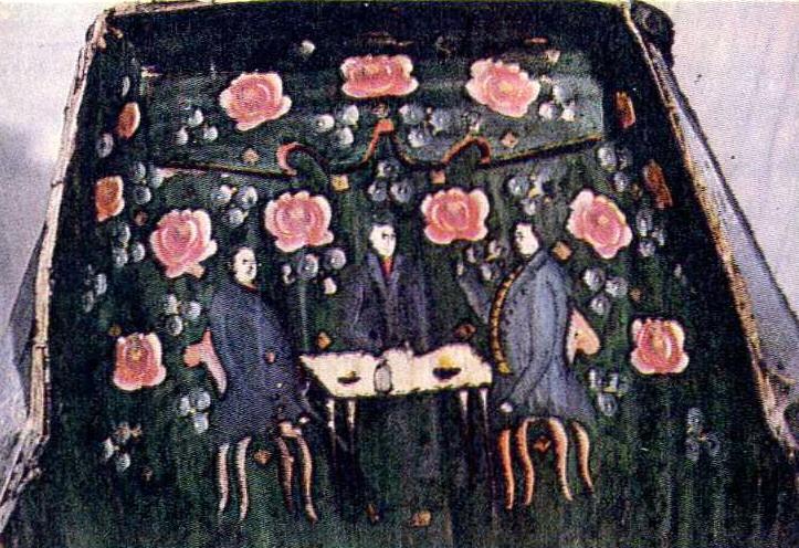 Праздичные сани. Деталь росписи. <br/>Середина 19 века