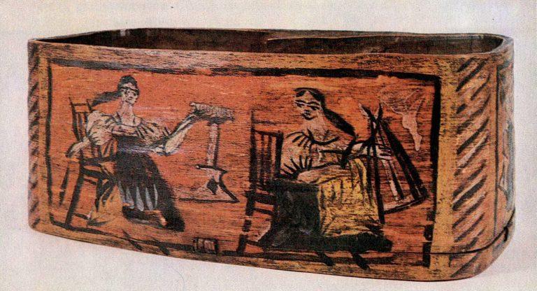 Пряхи за работой. Роспись стенки мочесника. <br/>60-е годы 19 века
