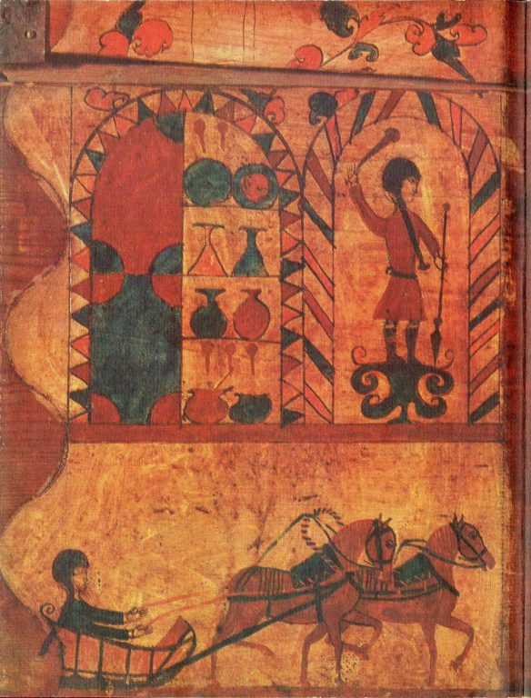Роспись стенки сундучка c раcсказом в картинках. Фрагмент. <br/>Первая половина 19 века