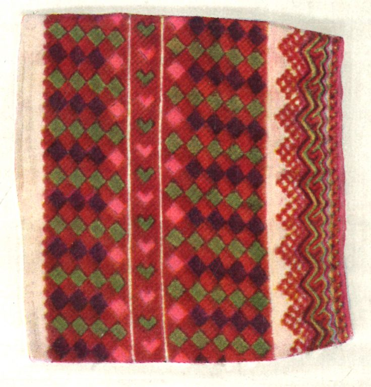 Sleeve embroidery of women's buttoned up clothing. <br/>19th century