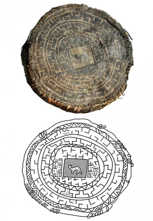 Korobka' (birch bark vessel) cover. <br/>2nd century BC e. - 2nd century AD e.
