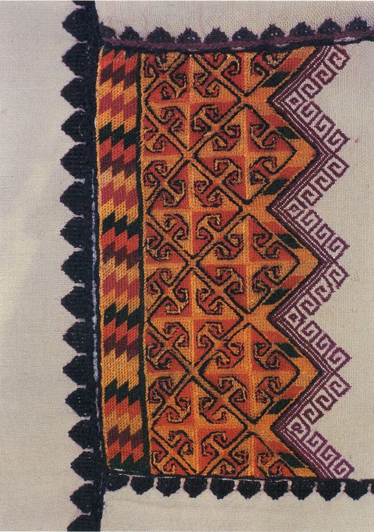 Lango kayam shcham' (shirt) back embroidery. Fragment. <br/>1930-1940 years