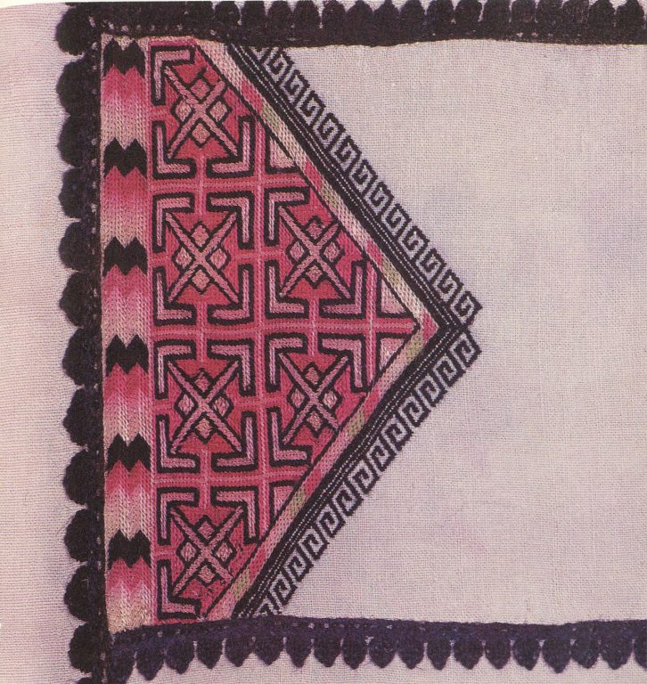 'Lango kayam shcham' (shirt) back embroidery. Fragment. <br/>1930-1940 years