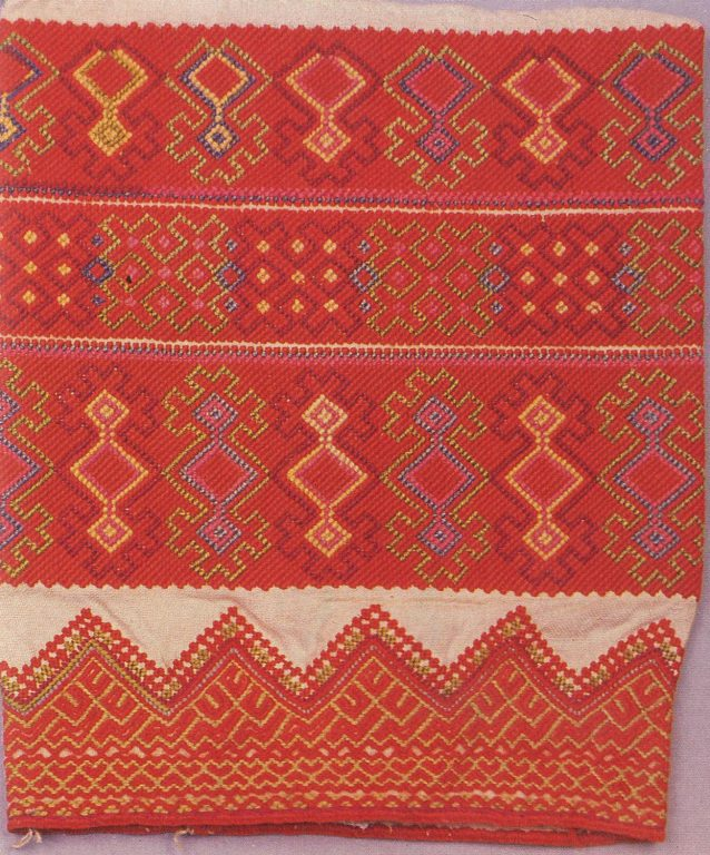 Shushpan' (women's clothing) sleeve embroidery . <br/>Late 19th century
