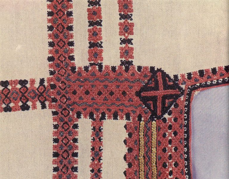 Panar (women's shirt) shoulder embroidery. Fragment . <br/>1920-1930 years