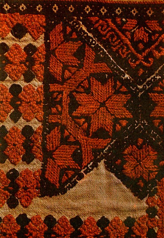 Fragment of embroidery on Erzya Mordvins 'pokai' women's shirt. <br/>1906 year