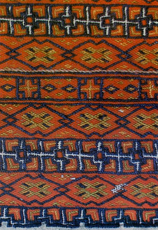 Embroidery fragment of Moksha Mordvins 'panga' (women's headdress) back part. <br/>Late 19th century