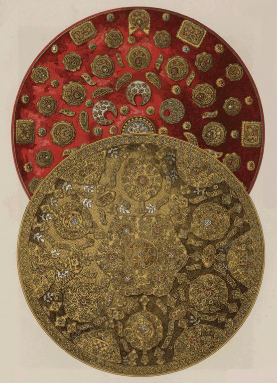 Государственный щит, старинный щит, украшенный золотом, каменьями и эмалью