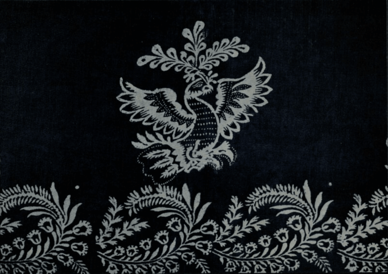 Linen cloth (printed fabric). Tablecloth fragment. First half of the 19th century