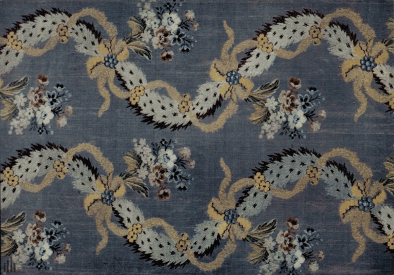 Silk fabric (shanzhan) with colored threads pattern. <br/>Mid 18th century