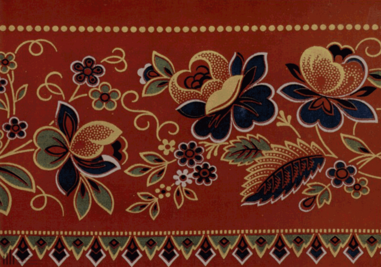 Cotton fabric (red calico). Headscarf detail