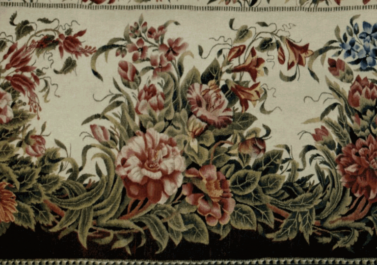 Wool cloth (cashmere) with colored threads pattern. Shawl fragment. <br/>First half of the 19th century