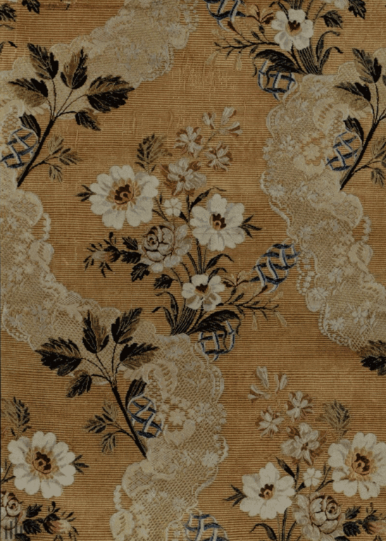 Silk fabric (cannelé) with colored threads pattern. <br/>Second half of the 18th century