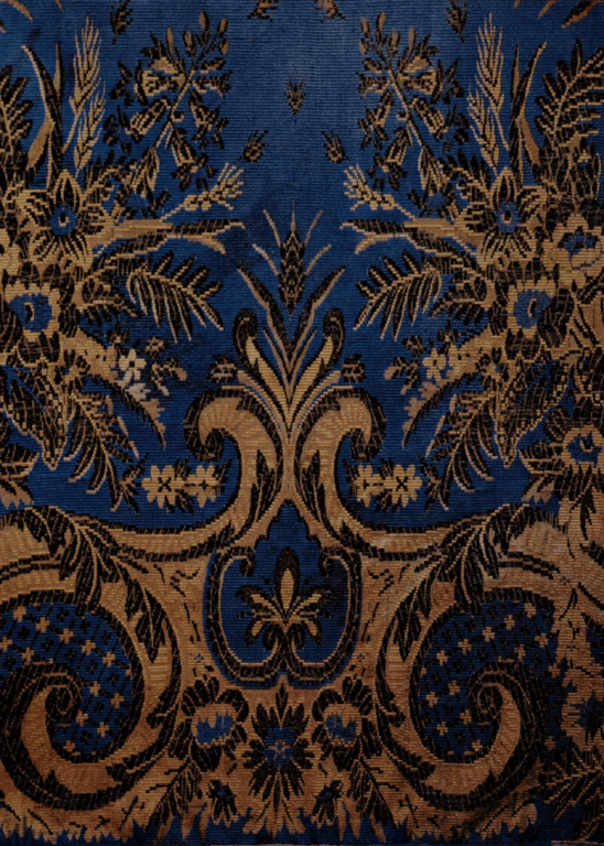 Silk fabric with colored threads pattern. Shawl detail. <br/>1850 - 1860s