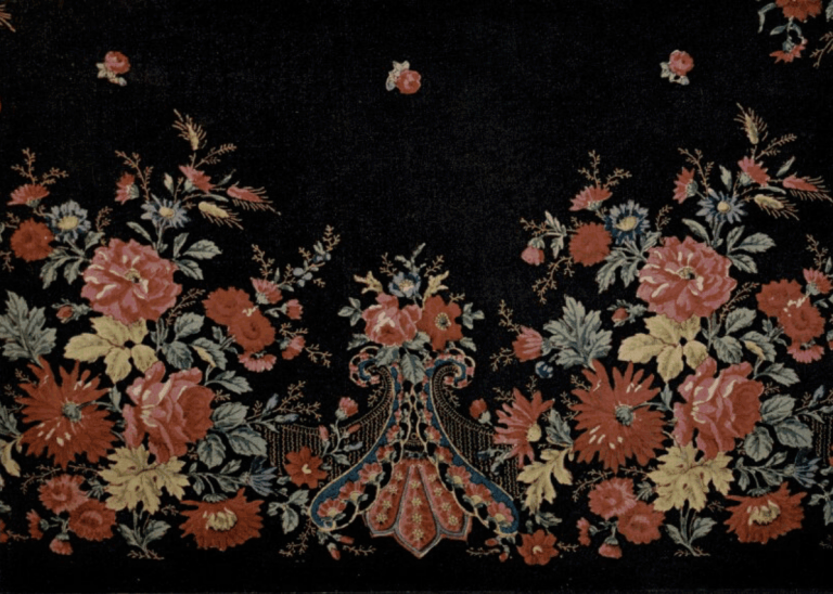 Wool fabric (cashmere). Shawl fragment. Hand-printed cloth . <br/>Late 19th century