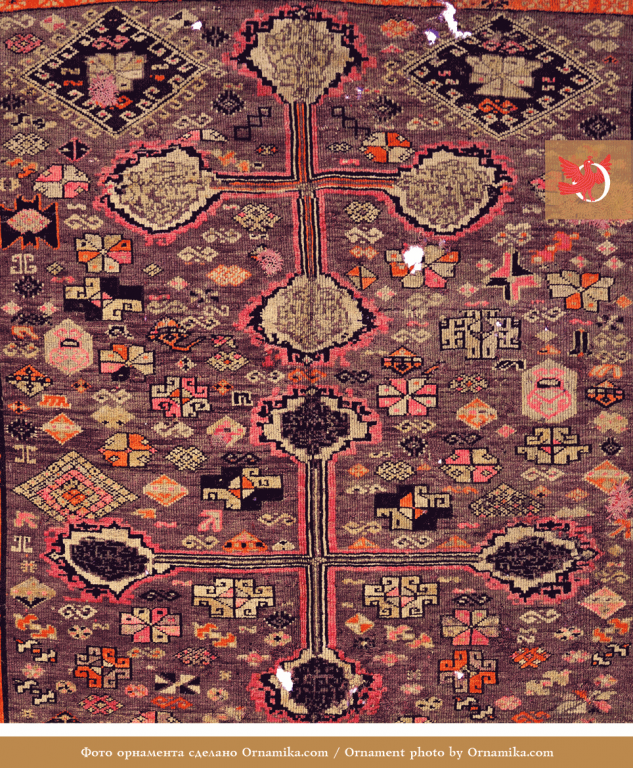 Wool pile rug. Fragment. <br/>Early 20th century