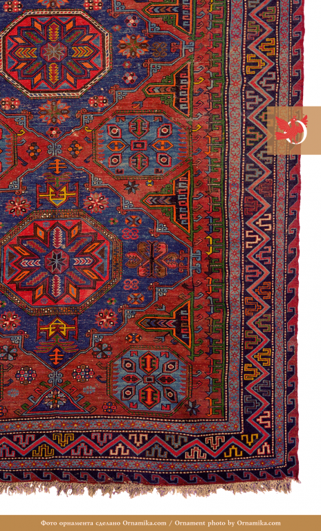 Soumak, lint-free rug. Fragment. <br/>Early 20th century