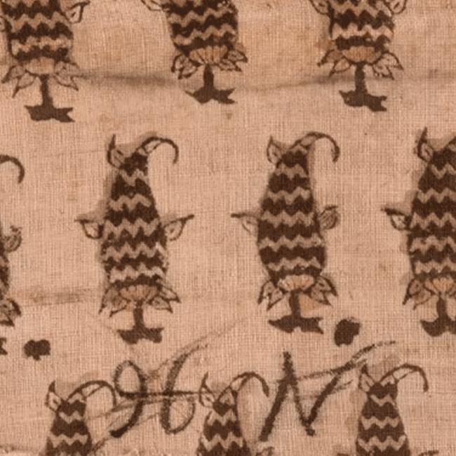 Образец набивной ткани. Фрагмент. <br/>17 век