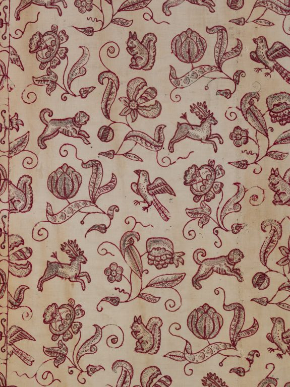 Embroidered bed curtain. <br/>1670-1700