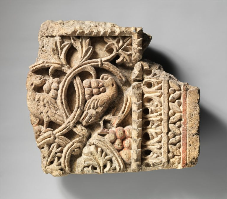 Fragment from a Two-Sided Sanctuary Screen with Birds Eating Grapes. 5th-6th century